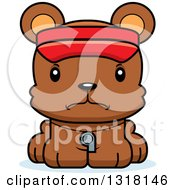 Animal Clipart Of A Cartoon Cute Mad Bear Cub Lifeguard Royalty Free Vector Illustration