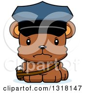 Animal Clipart Of A Cartoon Cute Mad Bear Cub Mail Man Royalty Free Vector Illustration