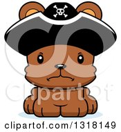 Animal Clipart Of A Cartoon Cute Mad Bear Cub Pirate Royalty Free Vector Illustration