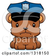 Animal Clipart Of A Cartoon Cute Mad Bear Cub Police Officer Royalty Free Vector Illustration
