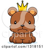 Animal Clipart Of A Cartoon Cute Mad Bear Cub Prince Royalty Free Vector Illustration