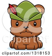 Animal Clipart Of A Cartoon Cute Mad Bear Cub Robin Hood Royalty Free Vector Illustration