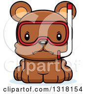 Animal Clipart Of A Cartoon Cute Mad Bear Cub Wearing Snorkel Gear Royalty Free Vector Illustration