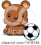 Animal Clipart Of A Cartoon Cute Mad Bear Cub Sitting With A Soccer Ball Royalty Free Vector Illustration