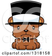 Animal Clipart Of A Cartoon Cute Mad Bear Cub Gentleman Wearing A Top Hat Royalty Free Vector Illustration