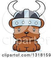 Animal Clipart Of A Cartoon Cute Mad Bear Cub Viking Royalty Free Vector Illustration