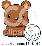 Animal Clipart Of A Cartoon Cute Mad Bear Cub Sitting With A Volleyball Royalty Free Vector Illustration