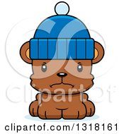 Animal Clipart Of A Cartoon Cute Mad Bear Cub Wearing A Winter Cap Royalty Free Vector Illustration