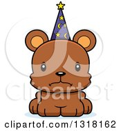 Animal Clipart Of A Cartoon Cute Mad Bear Cub Wizard Royalty Free Vector Illustration