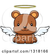 Animal Clipart Of A Cartoon Cute Happy Angel Bear Cub Royalty Free Vector Illustration