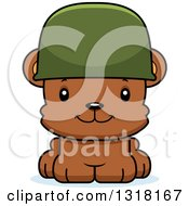 Animal Clipart Of A Cartoon Cute Happy Army Soldier Bear Cub Wearing A Helmet Royalty Free Vector Illustration