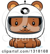 Animal Clipart Of A Cartoon Cute Happy Bear Cub Astronaut Royalty Free Vector Illustration