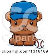 Animal Clipart Of A Cartoon Cute Happy Bear Cub Wearing A Cap And Sitting By A Baseball Royalty Free Vector Illustration