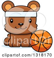 Animal Clipart Of A Cartoon Cute Happy Bear Cub Wearing A Headband And Sitting By A Basketball Royalty Free Vector Illustration