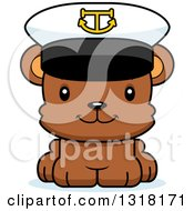 Animal Clipart Of A Cartoon Cute Happy Bear Cub Captain Royalty Free Vector Illustration