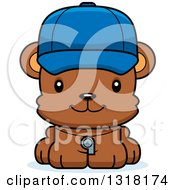 Animal Clipart Of A Cartoon Cute Happy Bear Cub Coach Royalty Free Vector Illustration