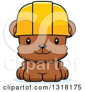 Cartoon Cute Happy Bear Cub Construction Worker