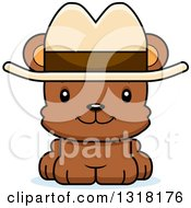 Animal Clipart Of A Cartoon Cute Happy Bear Cub Wearing A Cowboy Hat Royalty Free Vector Illustration