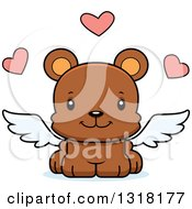 Animal Clipart Of A Cartoon Cute Happy Bear Cub Cupid Royalty Free Vector Illustration