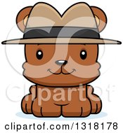 Animal Clipart Of A Cartoon Cute Happy Bear Cub Detective Royalty Free Vector Illustration