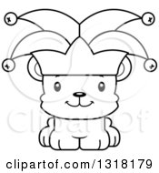 Animal Lineart Clipart Of A Cartoon Black And White Cute Happy Bear Cub Jester Royalty Free Outline Vector Illustration