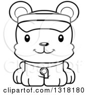 Animal Lineart Clipart Of A Cartoon Black And White Cute Happy Bear Cub Lifeguard Royalty Free Outline Vector Illustration