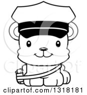 Animal Lineart Clipart Of A Cartoon Black And White Cute Happy Bear Cub Mail Man Royalty Free Outline Vector Illustration