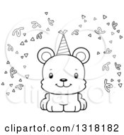 Animal Lineart Clipart Of A Cartoon Black And White Cute Happy Bear Cub With Party Confetti And A Hat Royalty Free Outline Vector Illustration