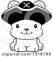 Animal Lineart Clipart Of A Cartoon Black And White Cute Happy Bear Cub Pirate Royalty Free Outline Vector Illustration