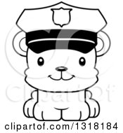 Animal Lineart Clipart Of A Cartoon Black And White Cute Happy Bear Cub Police Officer Royalty Free Outline Vector Illustration