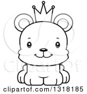 Animal Lineart Clipart Of A Cartoon Black And White Cute Happy Bear Cub Prince Royalty Free Outline Vector Illustration