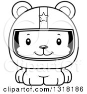 Animal Lineart Clipart Of A Cartoon Black And White Cute Happy Bear Cub Car Racer Royalty Free Outline Vector Illustration