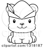 Animal Lineart Clipart Of A Cartoon Black And White Cute Happy Bear Cub Robin Hood Royalty Free Outline Vector Illustration