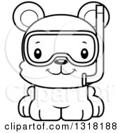 Animal Lineart Clipart Of A Cartoon Black And White Cute Happy Bear Cub Wearing Snorkel Gear Royalty Free Outline Vector Illustration