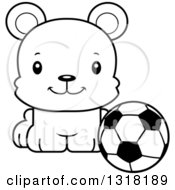 Animal Lineart Clipart Of A Cartoon Black And White Cute Happy Bear Cub Sitting With A Soccer Ball Royalty Free Outline Vector Illustration by Cory Thoman