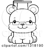 Animal Lineart Clipart Of A Cartoon Black And White Cute Happy Bear Cub Professor Royalty Free Outline Vector Illustration