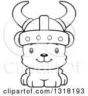Animal Lineart Clipart Of A Cartoon Black And White Cute Happy Bear Cub Viking Royalty Free Outline Vector Illustration