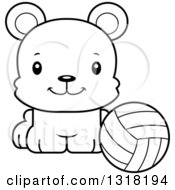 Animal Lineart Clipart Of A Cartoon Black And White Cute Happy Bear Cub Sitting With A Volleyball Royalty Free Outline Vector Illustration