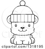 Animal Lineart Clipart Of A Cartoon Black And White Cute Happy Bear Cub Wearing A Winter Cap Royalty Free Outline Vector Illustration