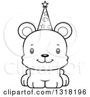 Animal Lineart Clipart Of A Cartoon Black And White Cute Happy Bear Cub Wizard Royalty Free Outline Vector Illustration