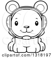 Animal Lineart Clipart Of A Cartoon Black And White Cute Happy Bear Cub Wrestler Royalty Free Outline Vector Illustration