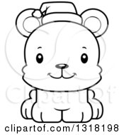 Animal Lineart Clipart Of A Cartoon Black And White Cute Happy Christmas Bear Cub Royalty Free Outline Vector Illustration