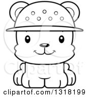 Animal Lineart Clipart Of A Cartoon Black And White Cute Happy Bear Cub Zookeeper Royalty Free Outline Vector Illustration