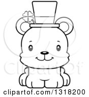 Animal Lineart Clipart Of A Cartoon Black And White Cute Happy Irish St Patricks Day Bear Cub Royalty Free Outline Vector Illustration
