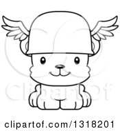 Animal Lineart Clipart Of A Cartoon Black And White Cute Happy Bear Cub Hermes Royalty Free Outline Vector Illustration