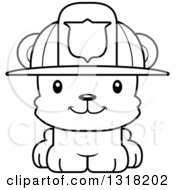 Animal Lineart Clipart Of A Cartoon Black And White Cute Happy Bear Cub Fire Fighter Royalty Free Outline Vector Illustration