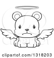 Animal Lineart Clipart Of A Cartoon Black And White Cute Mad Bear Cub Angel Royalty Free Outline Vector Illustration