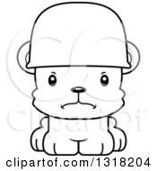 Animal Lineart Clipart Of A Cartoon Black And White Cute Mad Army Soldier Bear Cub Wearing A Helmet Royalty Free Outline Vector Illustration