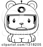 Animal Lineart Clipart Of A Cartoon Black And White Cute Mad Bear Cub Astronaut Royalty Free Outline Vector Illustration