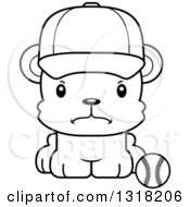 Animal Lineart Clipart Of A Cartoon Black And White Cute Mad Bear Cub Wearing A Cap And Sitting By A Baseball Royalty Free Outline Vector Illustration